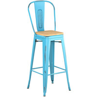 Lancaster Table & Seating Alloy Series Distressed Arctic Blue Metal Indoor Industrial Cafe Bar Height Stool with Vertical Slat Back and Natural Wood Seat