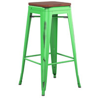 Lancaster Table & Seating Alloy Series Distressed Green Stackable Metal Indoor Industrial Barstool with Walnut Wood Seat