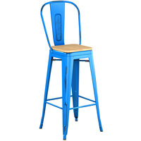 Lancaster Table & Seating Alloy Series Distressed Blue Metal Indoor Industrial Cafe Bar Height Stool with Vertical Slat Back and Natural Wood Seat
