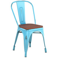 Lancaster Table & Seating Alloy Series Distressed Arctic Blue Metal Indoor Industrial Cafe Chair with Vertical Slat Back and Walnut Wood Seat