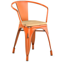 Lancaster Table & Seating Alloy Series Distressed Orange Metal Indoor Industrial Cafe Arm Chair with Vertical Slat Back and Natural Wood Seat