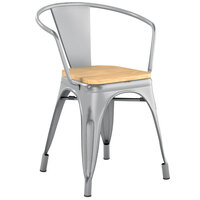Lancaster Table & Seating Alloy Series Distressed Silver Metal Indoor Industrial Cafe Arm Chair with Vertical Slat Back and Natural Wood Seat