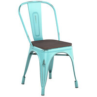 Lancaster Table & Seating Alloy Series Distressed Seafoam Metal Indoor Industrial Cafe Chair with Vertical Slat Back and Black Wood Seat