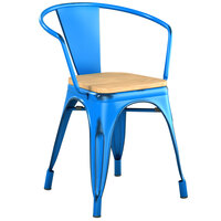 Lancaster Table & Seating Alloy Series Distressed Blue Metal Indoor Industrial Cafe Arm Chair with Vertical Slat Back and Natural Wood Seat