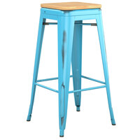 Lancaster Table & Seating Alloy Series Distressed Arctic Blue Stackable Metal Indoor Industrial Barstool with Natural Wood Seat