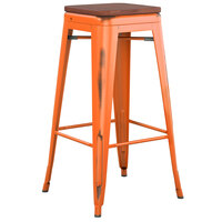 Lancaster Table & Seating Alloy Series Distressed Orange Stackable Metal Indoor Industrial Barstool with Walnut Wood Seat