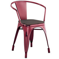 Lancaster Table & Seating Alloy Series Distressed Sangria Metal Indoor Industrial Cafe Arm Chair with Vertical Slat Back and Black Wood Seat