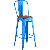 Lancaster Table & Seating Alloy Series Distressed Blue Metal Indoor Industrial Cafe Bar Height Stool with Vertical Slat Back and Walnut Wood Seat