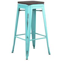 Lancaster Table & Seating Alloy Series Distressed Seafoam Stackable Metal Indoor Industrial Barstool with Black Wood Seat