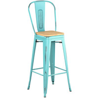 Lancaster Table & Seating Alloy Series Distressed Seafoam Metal Indoor Industrial Cafe Bar Height Stool with Vertical Slat Back and Natural Wood Seat
