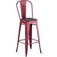 Lancaster Table & Seating Alloy Series Distressed Sangria Metal Indoor Industrial Cafe Bar Height Stool with Vertical Slat Back and Black Wood Seat
