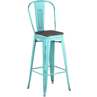 Lancaster Table & Seating Alloy Series Distressed Seafoam Metal Indoor Industrial Cafe Bar Height Stool with Vertical Slat Back and Black Wood Seat