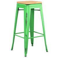 Lancaster Table & Seating Alloy Series Distressed Green Stackable Metal Indoor Industrial Barstool with Natural Wood Seat