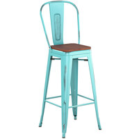 Lancaster Table & Seating Alloy Series Distressed Seafoam Metal Indoor Industrial Cafe Bar Height Stool with Vertical Slat Back and Walnut Wood Seat