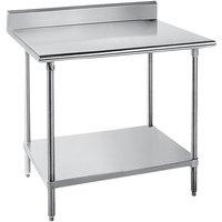 "Advance Tabco SKG-300 30"" x 30"" 16 Gauge Super Saver Stainless Steel Commercial Work Table with Undershelf and 5"" Backsplash"