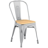 Lancaster Table & Seating Alloy Series Distressed Silver Metal Indoor Industrial Cafe Chair with Vertical Slat Back and Natural Wood Seat