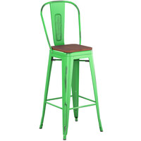 Lancaster Table & Seating Alloy Series Distressed Green Metal Indoor Industrial Cafe Bar Height Stool with Vertical Slat Back and Walnut Wood Seat