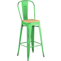 Lancaster Table & Seating Alloy Series Distressed Green Metal Indoor Industrial Cafe Bar Height Stool with Vertical Slat Back and Natural Wood Seat