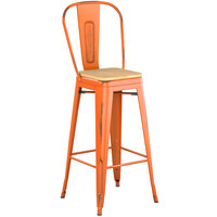 Lancaster Table & Seating Alloy Series Distressed Orange Metal Indoor Industrial Cafe Bar Height Stool with Vertical Slat Back and Natural Wood Seat
