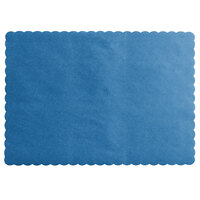 Choice 10 inch x 14 inch Navy Blue Colored Paper Placemat with Scalloped Edge   - 1000/Case