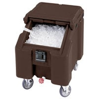 Cambro ICS100L4S131 SlidingLid Dark Brown Portable Ice Bin - 100 lb. Capacity