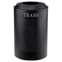 Rubbermaid FGDRR24TTBK Silhouettes Textured Black Round Designer Recycling Receptacle - Trash 26 Gallon