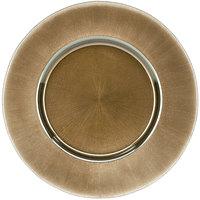 10 Strawberry Street SUN-340-BRNZ 13 1/4 inch Metallic Bronze Glass Charger Plate