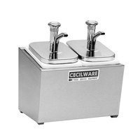 Cecilware 244M Metal Pumps Stainless Steel Condiment Rail with Two 302KCS Pumps, Jars, and Covers