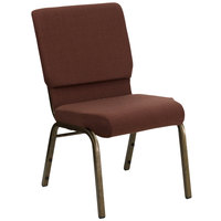 Flash Furniture FD-CH02185-GV-10355-GG Brown Patterned 18 1/2 inch Wide Church Chair with Gold Vein Frame