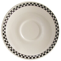Homer Laughlin Black Checkers 5 1/2 inch Creamy White / Off White China Texas Saucer - 36/Case
