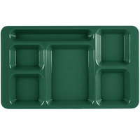 Cambro 1596CW119 Camwear (2 x 2) 9 inch x 15 inch Sherwood Green Six Compartment Serving Tray - 24/Case