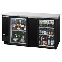 Beverage-Air BB68G-1-BK-LED-WINE 68 inch Black Back Bar Wine Series Refrigerator - 2 Glass Doors