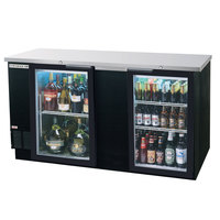Beverage Air BB68G-1-BK-LED-WINE 68 inch Black Back Bar Wine Series Refrigerator - 2 Glass Doors