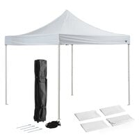 Backyard Pro Courtyard Series 10' x 10' White Straight Leg Steel Instant Canopy Deluxe Kit with 4 Side Walls