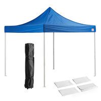 Galaxy Equipment 10' x 10' Blue Straight Leg Steel Instant Canopy Deluxe Kit with 4 Side Walls