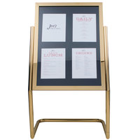 Aarco P-15B Brass 25 inch x 48 inch Double Pedestal Poster Stand