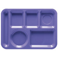 GET TL-152 10 inch x 14 inch Peacock Blue ABS Plastic Left Hand 6 Compartment Tray - 12/Pack