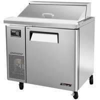 Turbo Air JST-36 36 inch J Series Refrigerated Salad / Sandwich Prep Table with One Door and Side Mount Compressor