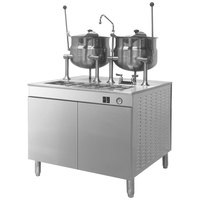 Cleveland 36-DM-K1010 (2) 10 Gallon Tilting 2/3 Steam Jacketed Direct Steam Kettles with Modular Base