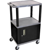 Luxor WT2642GYC2E-B Gray Tuffy Two Shelf Adjustable Height A/V Cart with Locking Cabinet - 18 inch x 24 inch