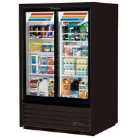True GDM-33CPT-54-LD Black Sliding Glass Door Narrow Depth Convenience Store Merchandiser Refrigerator - Pass-Through Low Profile