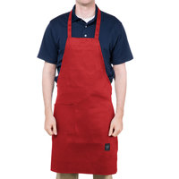 Chef Revival 601BAC-RD Customizable Full-Length Red Bib Apron - 34 inchL x 28 inchW