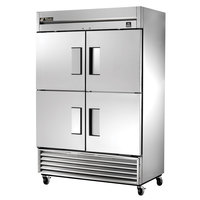 True TS-49F-4-HC 54 inch Stainless Steel Two Section Solid Half Door Reach In Freezer