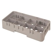 Cambro 8HS800184 Beige Camrack Customizable 8 Compartment Half Size 8 1/2 inch Glass Rack