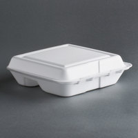 Dart Solo 80HT3R 8 inch x 7 1/2 inch x 2 inch White Foam Three-Compartment Square Take Out Container with Hinged Lid - 200 / Case