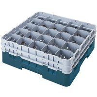 Cambro 25S1114414 Camrack 11 3/4 inch High Teal 25 Compartment Glass Rack