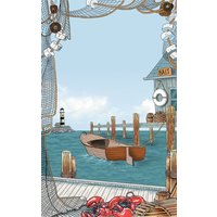 8 1/2 inch x 14 inch Menu Paper - Seafood Themed Harbor Design Cover - 100/Pack