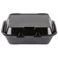 Genpak SN240-BK 8 inch x 8 inch x 3 inch Black Foam Container with Hinged Lid - 200/Case