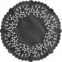 8 inch Black Foil Lace Doily - 500/Case