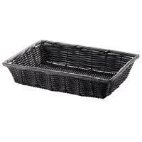 Tablecraft 2489 16 inch x 11 1/2 inch x 3 inch Black Rectangular Woven Basket